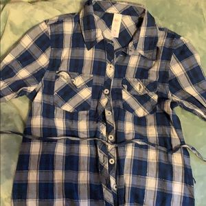 Justice tunic length plaid shirt with two belt